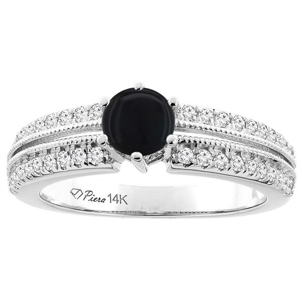 0.90 CTW Onyx & Diamond Ring 14K White Gold - REF-66R4H