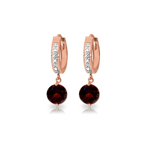 Genuine 2.53 ctw Garnet & Diamond Earrings 14KT Rose Gold - REF-54V6W