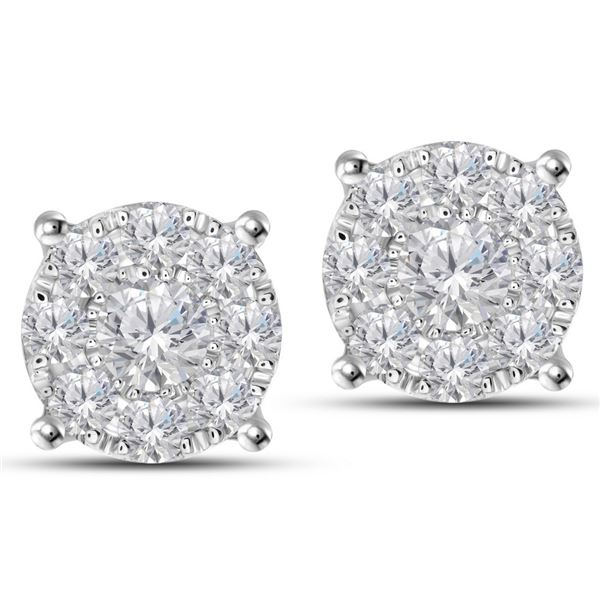 Natural 1.40 CTW Diamond Earrings 14K White Gold - REF-172W8H