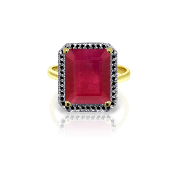 Genuine 7.45 ctw Ruby & Black Diamond Ring 14KT Yellow Gold - REF-116Y6F