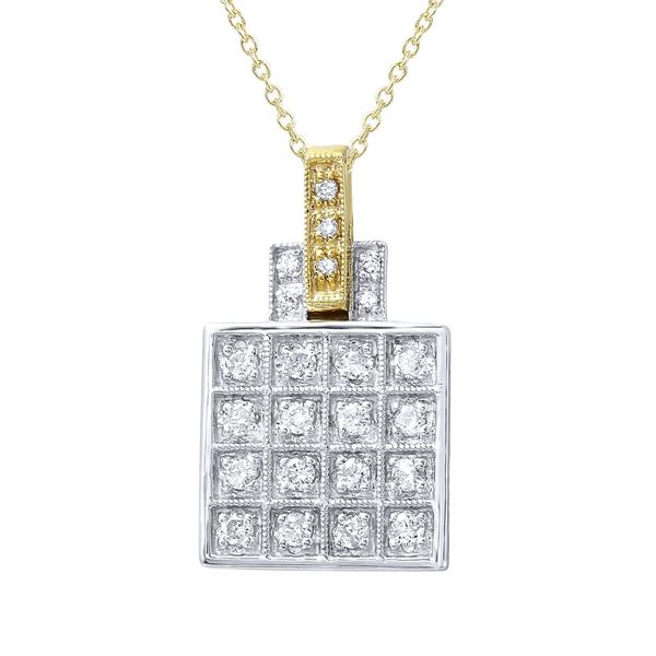 Natural 0.32 CTW Diamond & Pendant 14K Two Tone Yellow Gold - REF-54F9M