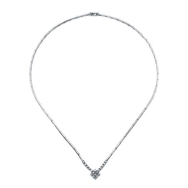 Natural 0.57 CTW Diamond Necklace 18K White Gold - REF-207T2X
