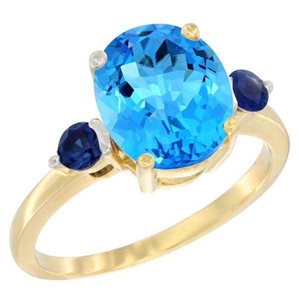 2.64 CTW Swiss Blue Topaz & Blue Sapphire Ring 14K Yellow Gold - REF-32V3R