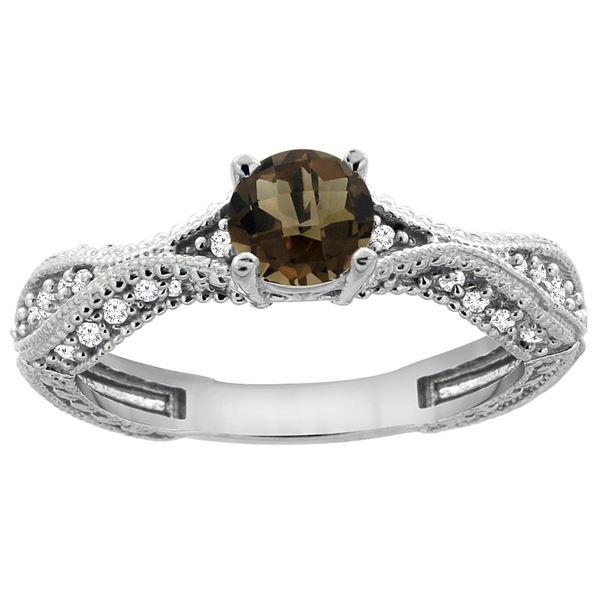 0.81 CTW Quartz & Diamond Ring 14K White Gold - REF-67A8X
