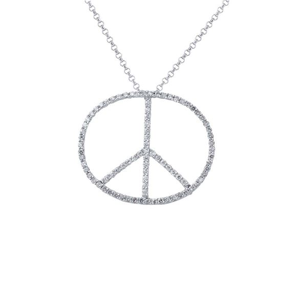 Natural 0.73 CTW Diamond Necklace 14K White Gold - REF-45F2M