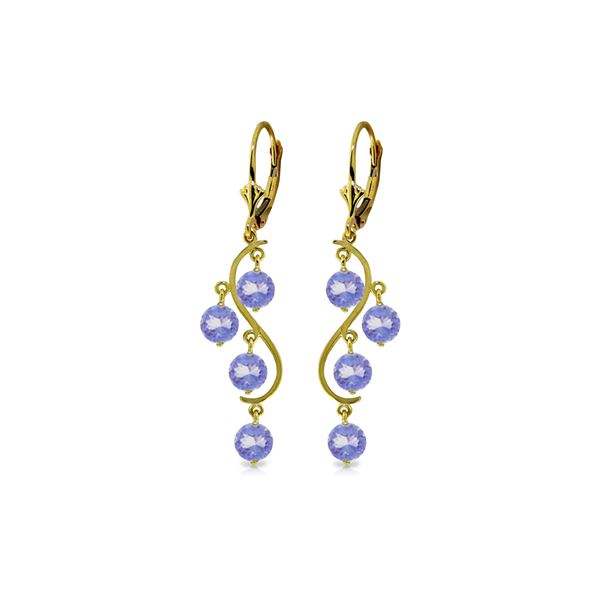 Genuine 4 ctw Tanzanite Earrings 14KT Yellow Gold - REF-74R2P