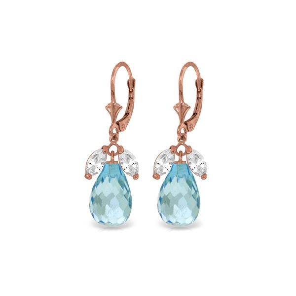 Genuine 14.4 ctw White Topaz & Blue Topaz Earrings 14KT Rose Gold - REF-46V7W