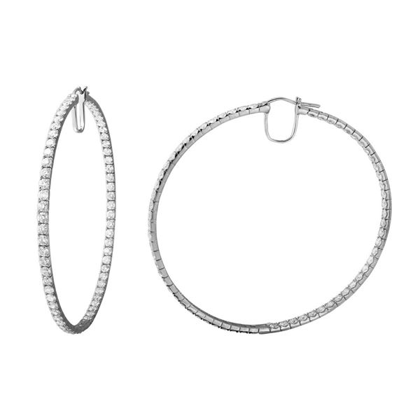 9.66 CTW White Round Diamond Hoop  Earring 14K White Gold - REF-836X4W