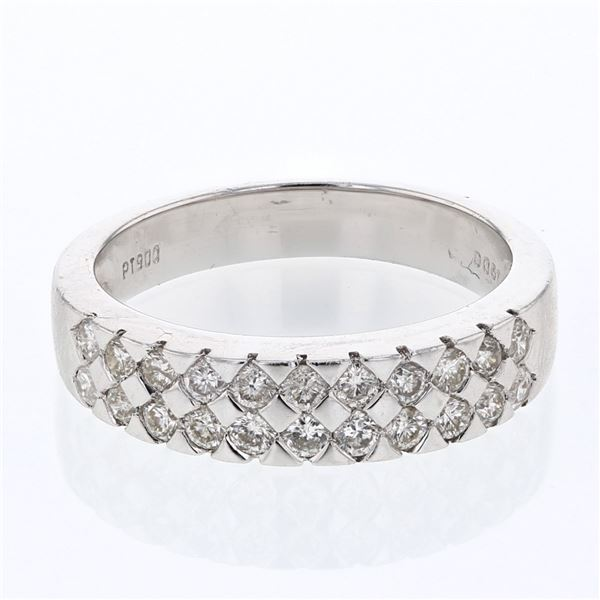 Natural 0.61 CTW Diamond Ring Platinum - REF-137T7X