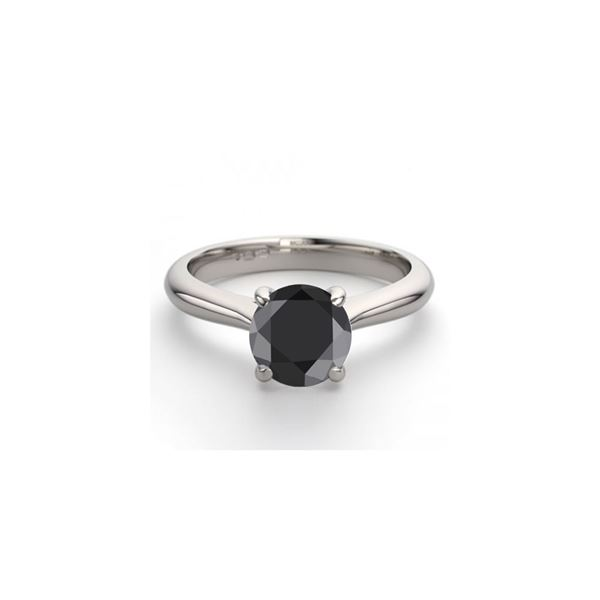 14K White Gold 0.83 ctw Black Diamond Solitaire Ring - REF-43W4K