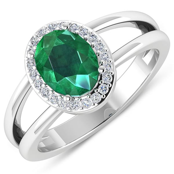 Natural 1.87 CTW Zambian Emerald & Diamond Ring 14K White Gold - REF-88R9F