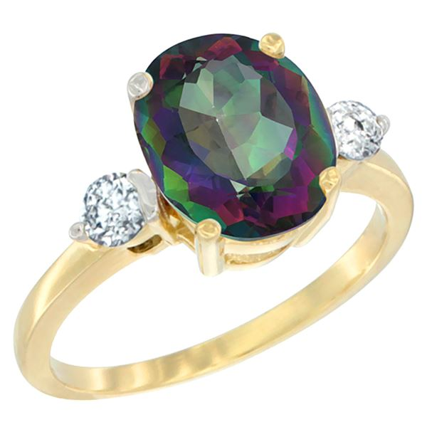 2.60 CTW Mystic Topaz & Diamond Ring 10K Yellow Gold - REF-62M2A