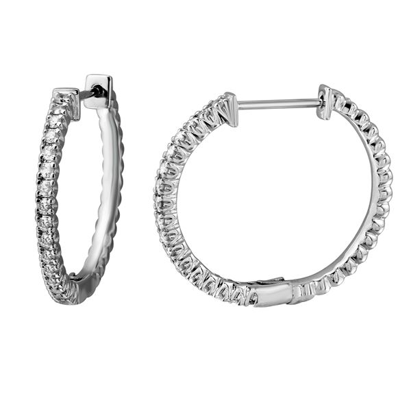 0.54 CTW White Round Diamond Hoop  Earring 14K White Gold - REF-90A9V