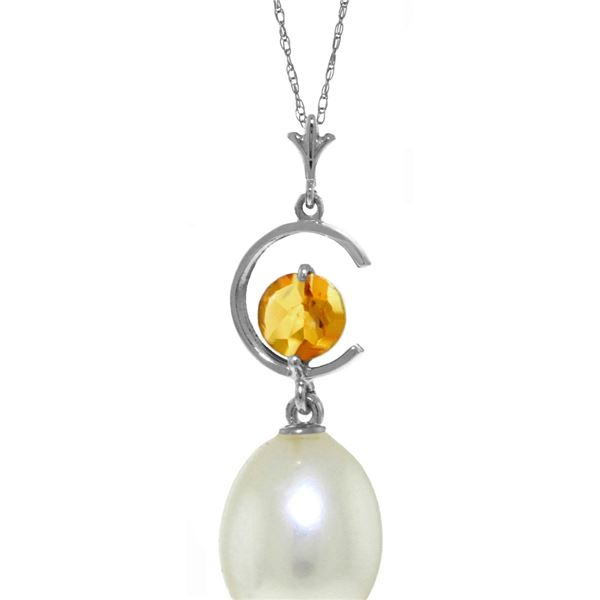 Genuine 4.5 ctw Pearl & Citrine Necklace 14KT White Gold - REF-20X5M