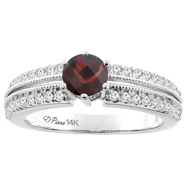 1.30 CTW Garnet & Diamond Ring 14K White Gold - REF-67M2A