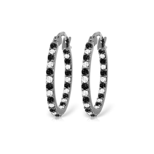 Genuine 0.81 ctw White & Black Diamond Earrings 14KT White Gold - REF-116R6P