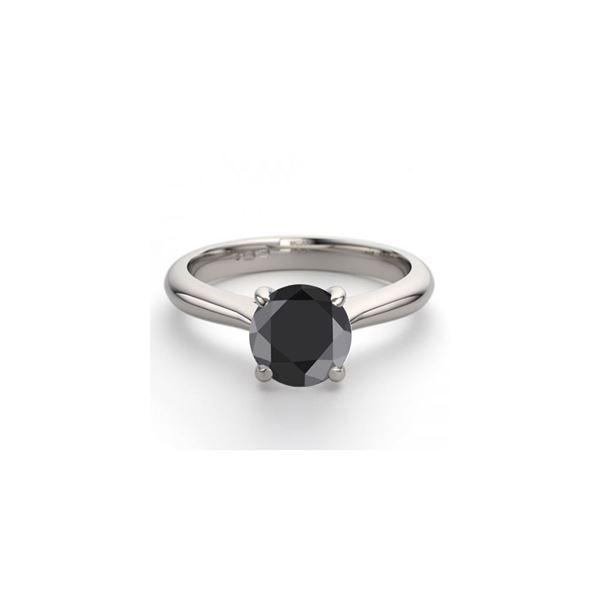14K White Gold 0.91 ctw Black Diamond Solitaire Ring - REF-53R2M
