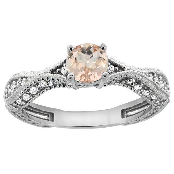 0.69 CTW Morganite & Diamond Ring 14K White Gold - REF-69X2M