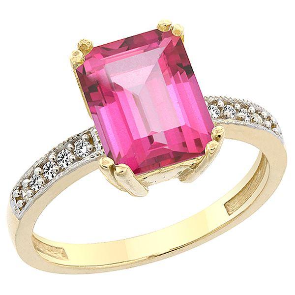 3.70 CTW Pink Topaz & Diamond Ring 14K Yellow Gold - REF-40A2X