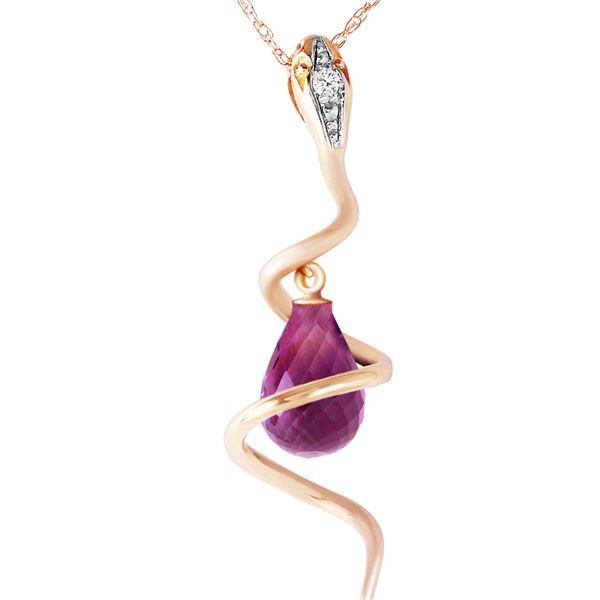 Genuine 2.28 ctw Amethyst & Diamond Necklace 14KT Yellow Gold - REF-49X3M