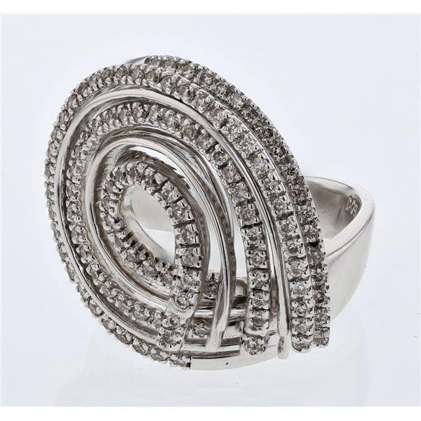 Natural 0.91 CTW Diamond Ring 14K White Gold - REF-149W4H