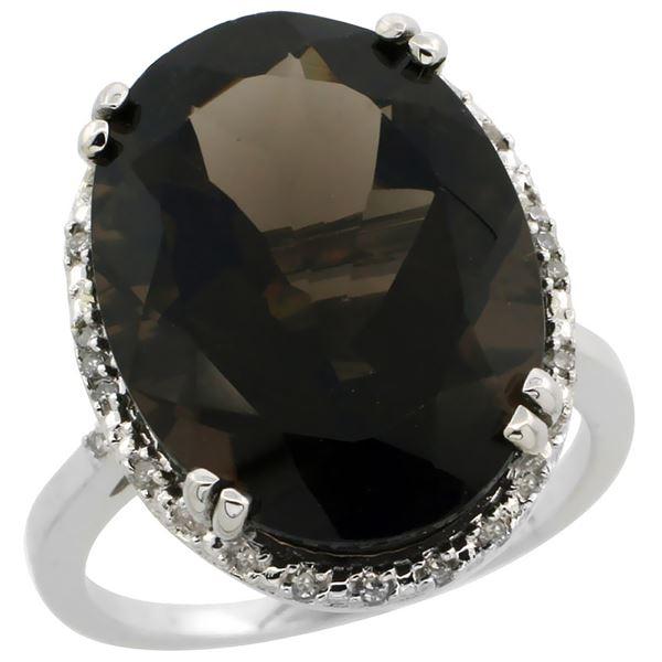 13.71 CTW Quartz & Diamond Ring 14K White Gold - REF-59Y4V