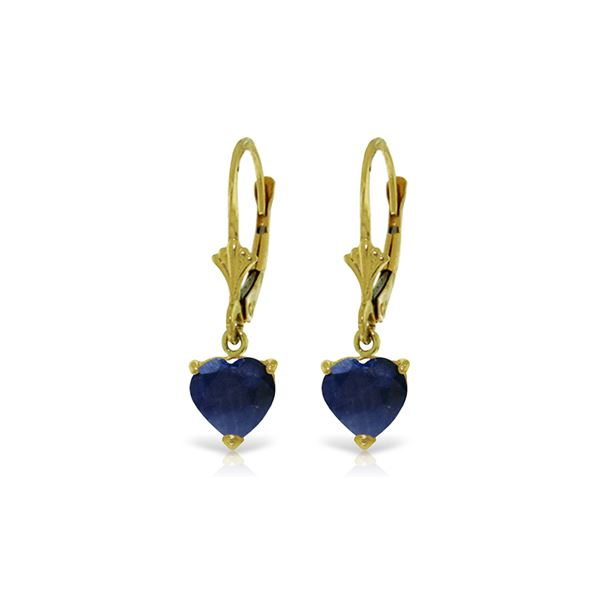 Genuine 3.1 ctw Sapphire Earrings 14KT Yellow Gold - REF-42P2H