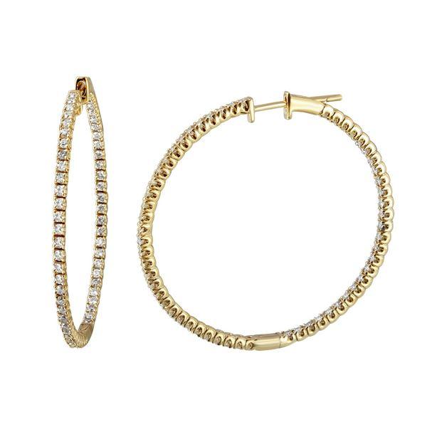 1.09 CTW White Round Diamond Hoop Earring 14K Yellow Gold - REF-109X3W