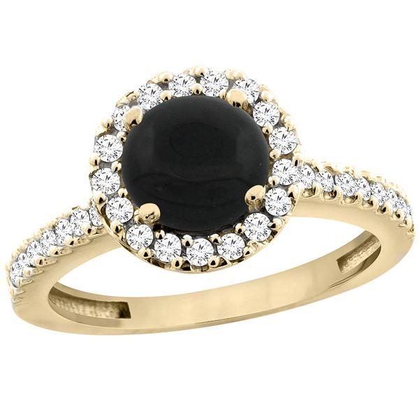 1.02 CTW Onyx & Diamond Ring 10K Yellow Gold - REF-53W5F