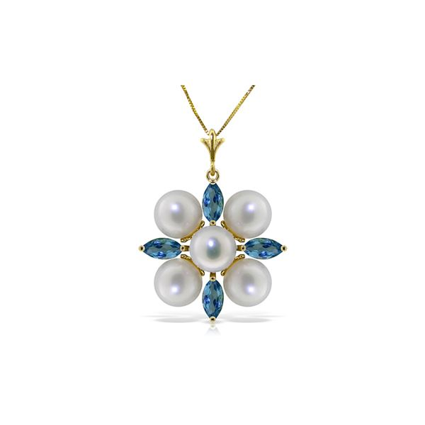 Genuine 6.3 ctw Blue Topaz & Pearl Necklace 14KT Yellow Gold - REF-59Z2N