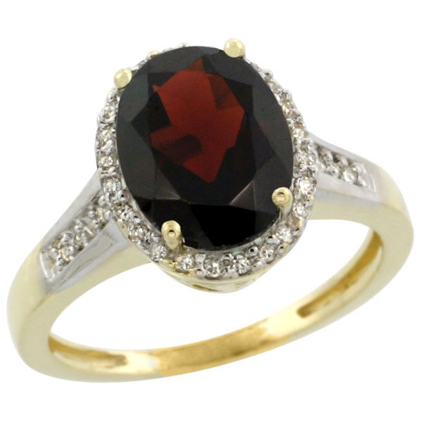 2.60 CTW Garnet & Diamond Ring 14K Yellow Gold - REF-57A5X