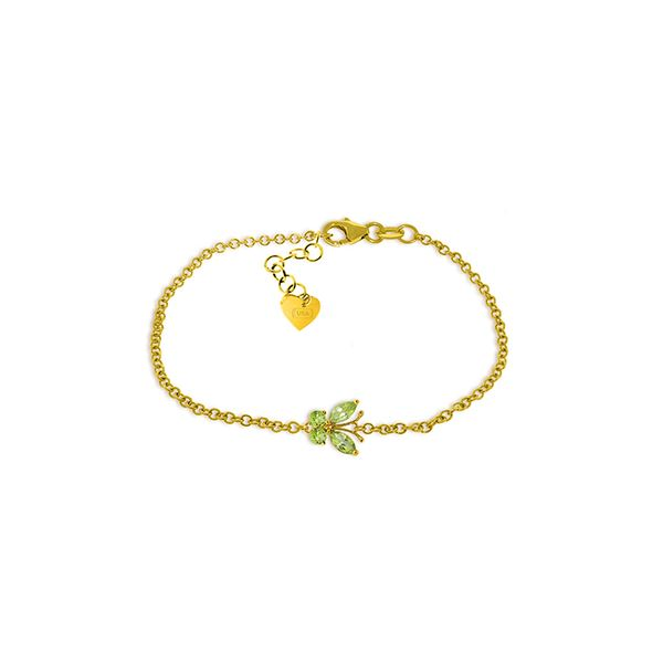 Genuine 0.60 ctw Peridot Bracelet 14KT Yellow Gold - REF-41P6H