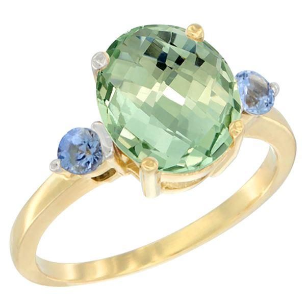2.64 CTW Amethyst & Blue Sapphire Ring 10K Yellow Gold - REF-24K5W