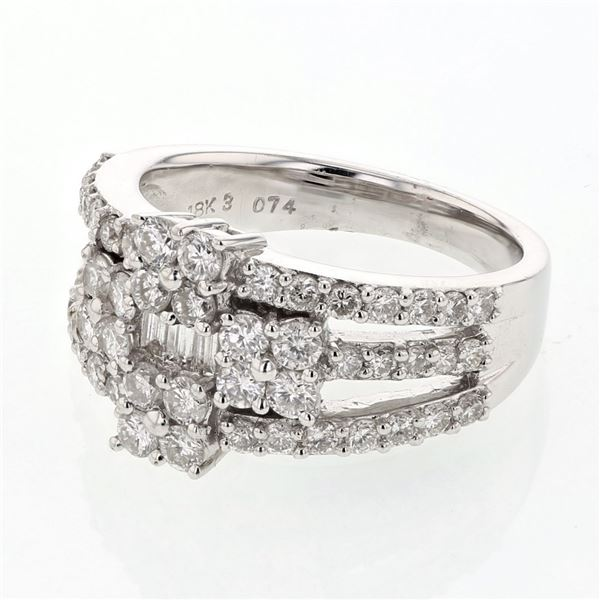Natural 1.56 CTW Diamond & Baguette Ring 18K White Gold - REF-232N2Y