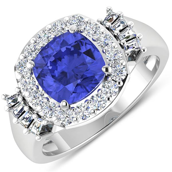 Natural 2.83 CTW Tanzanite & Diamond Ring 14K White Gold - REF-115X3K