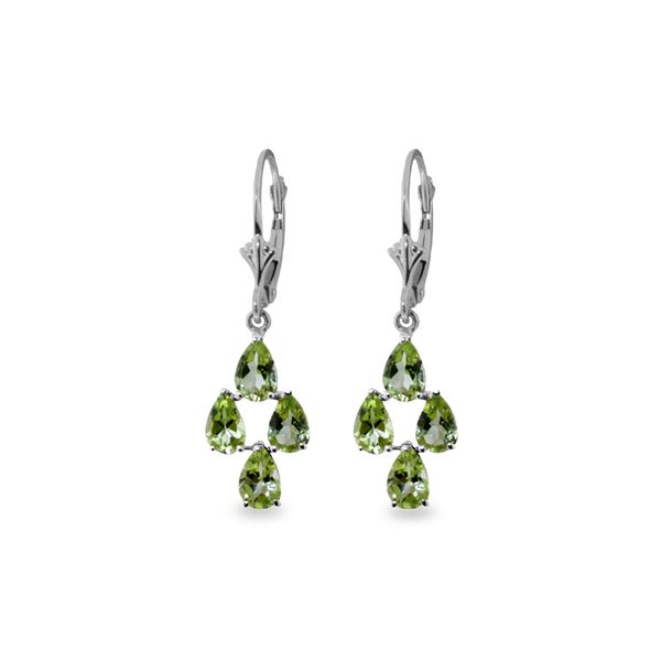 Genuine 4.5 ctw Peridot Earrings 14KT White Gold - REF-41A2K