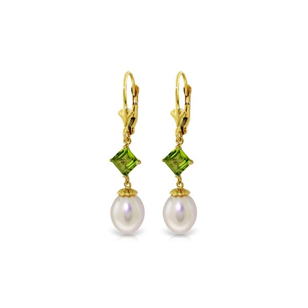 Genuine 9.5 ctw Pearl & Peridot Earrings 14KT Yellow Gold - REF-24T4A