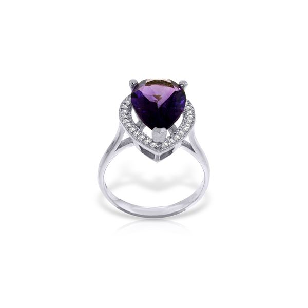 Genuine 3.41 ctw Amethyst & Diamond Ring 14KT White Gold - REF-75Z4N