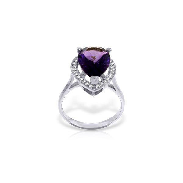 Genuine 3.41 ctw Amethyst & Diamond Ring 14KT White Gold - REF-75Z4N