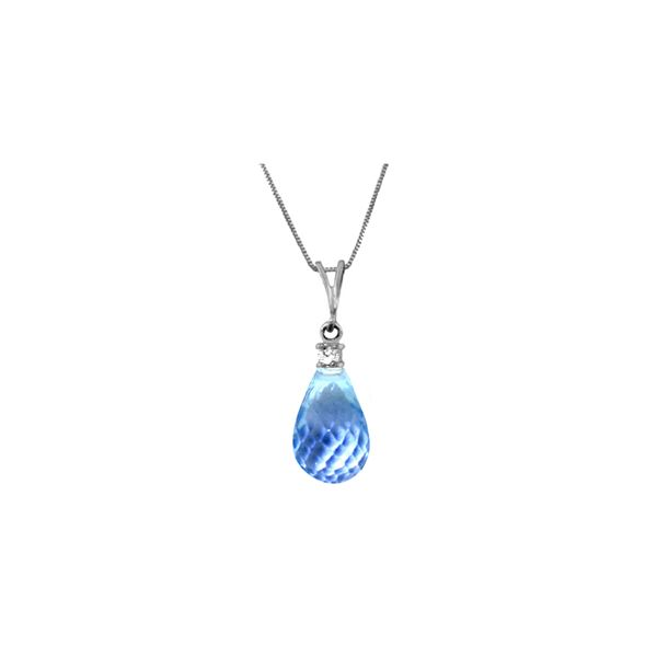 Genuine 2.3 ctw Blue Topaz & Diamond Necklace 14KT White Gold - REF-22Z8N