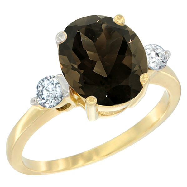 2.60 CTW Quartz & Diamond Ring 14K Yellow Gold - REF-68R6H