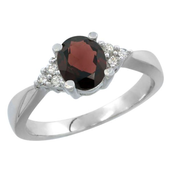 1.06 CTW Garnet & Diamond Ring 10K White Gold - REF-28H4M