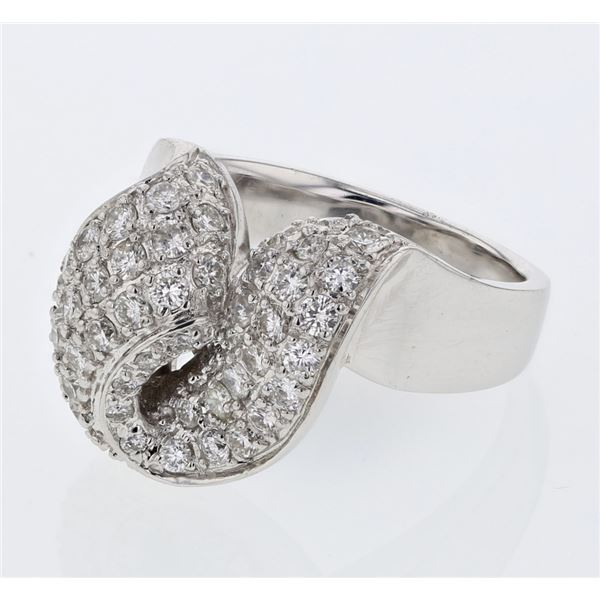 Natural 1.34 CTW Diamond Ring 18K White Gold - REF-265N5Y