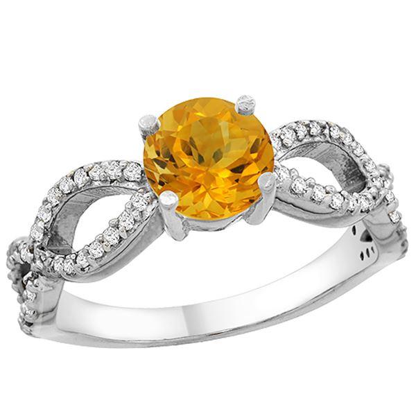 1 CTW Citrine & Diamond Ring 14K White Gold - REF-49N6Y