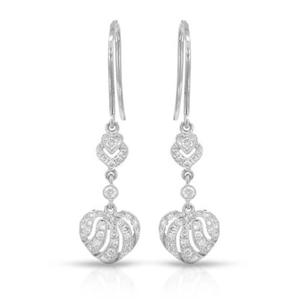 Natural 0.45 CTW Diamond Earrings 14K White Gold - REF-81N9Y