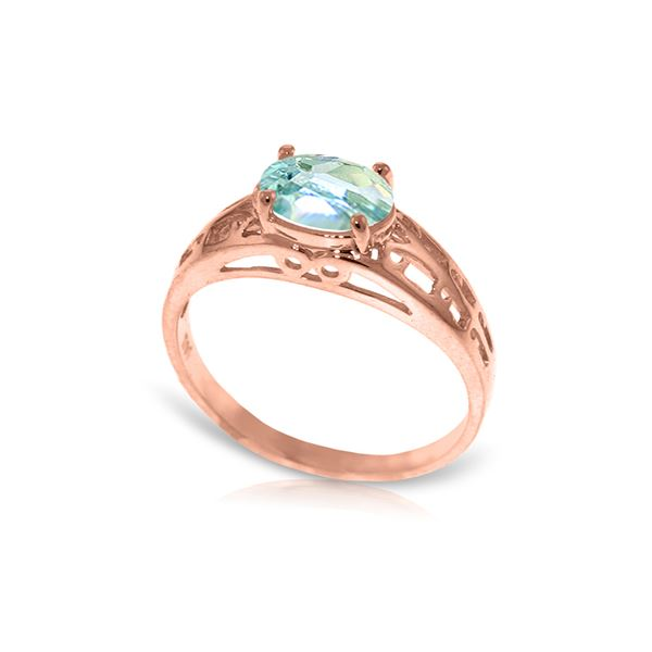 Genuine 1.15 ctw Aquamarine Ring 14KT Rose Gold - REF-35Z2N