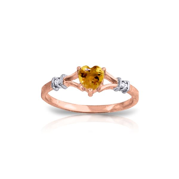 Genuine 0.47 ctw Citrine & Diamond Ring 14KT Rose Gold - REF-27H2X