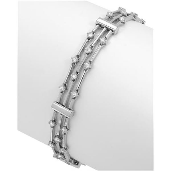 Natural 1.16 CTW Diamond & Bracelet 18K White Gold - REF-223T2X