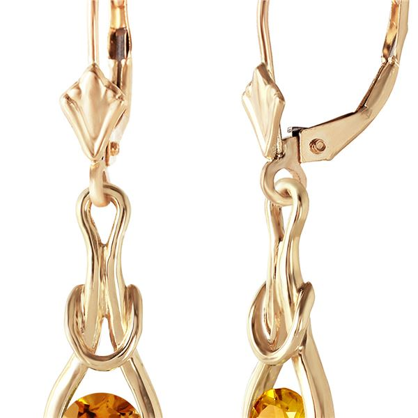 Genuine 1.30 ctw Citrine Earrings 14KT Yellow Gold - REF-49V3W