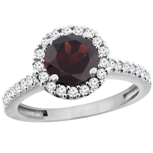 1.39 CTW Garnet & Diamond Ring 10K White Gold - REF-54K5W